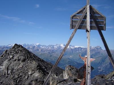 Du Sommet Nord du Mont Brequin, le Sommet Central et les Ecrins.