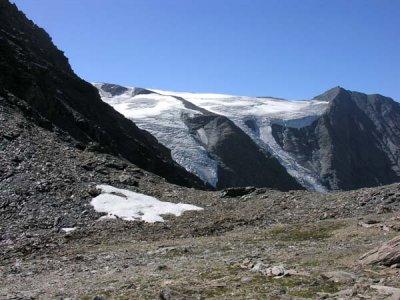 Le col et la vue sur le Glacier supérieur des Balmes