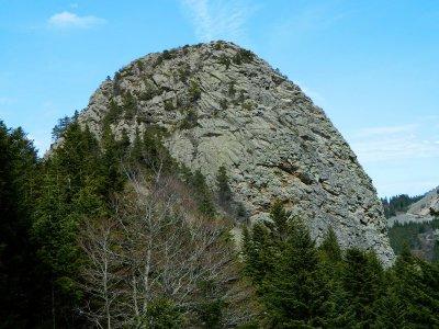 Le Gouleyou, itinéraire d'ascension à droite du pilier de gauche.